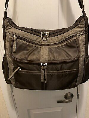 Lug Life Hula Hoop Carry All Messenger Diaper Bag Gray