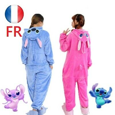 Bleu / rose Point Pyjamas stitch Animal Kigurumi Adulte Costume Unisexe Cosplay