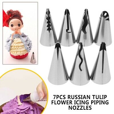 7pcs Russian Tulip Flower Icing Piping Nozzles Cake Decoration Tips Baking Tools