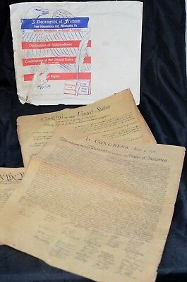 3 Documents Of Freedom on Parchment Paper Independence Hall PHIL Vintage 1956
