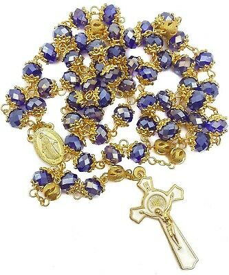 Catholic Blue Crystal Beads Rosary Necklace St Benedict Miraculous Medal & Cross