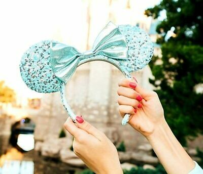 NWT Disney Parks Frozen Arendelle Aqua Minnie Mouse Ears Ear Headband