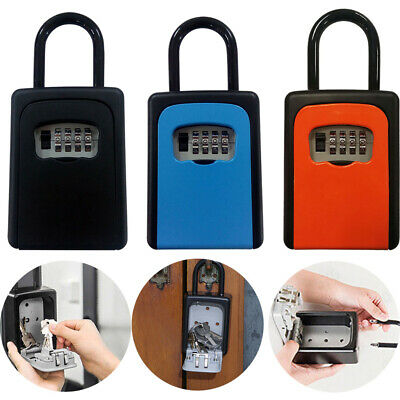 Key Lock Box 4-Digit Combination Password Box With Resettable Code For House