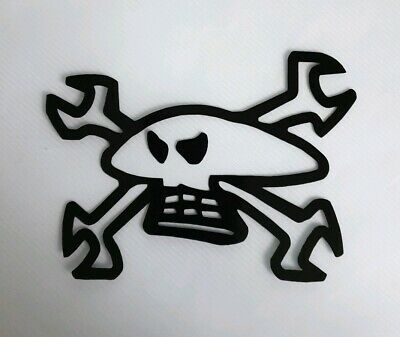 GUY MARTIN SKULLS AND SPANNERS DECALS STICKERS LOGO CHROME SILVER X2 LEFT+RIGHT