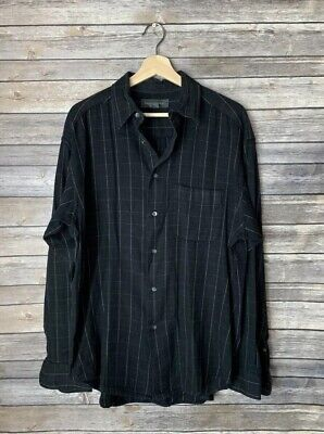 Banana Republic Mens Large Black Flannel Cotton Wool Blend Long Sleeve Shirt