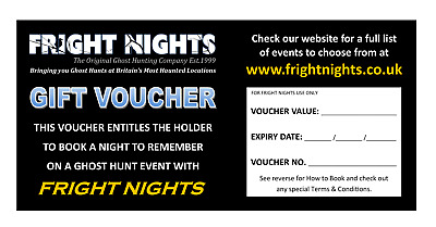 £60 Ghost Hunting Gift Vouchers with Fright Nights - Paranormal Investigations