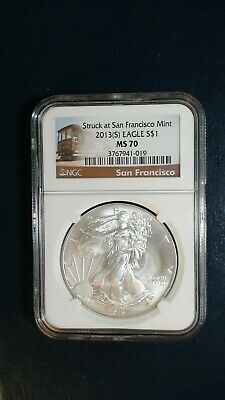 2013 S American Silver Eagle NGC MS70 PERFECT $1 Coin Auction Starts At 99 Cents