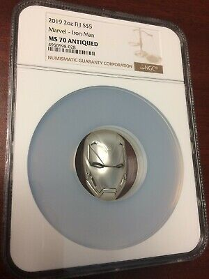2019 Fiji Silver $5 - Marvel Characters - Iron Man Mask - MS70 ANTIQUED NGC Coin