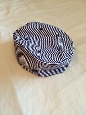Blue white checked gingham chef hat elastic large new chef's catering skull cap