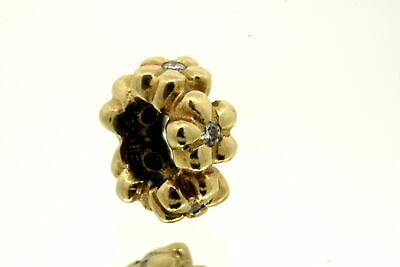Pandora Charm ALE 14k Yellow Gold Spacer Daisy Flower Diamond Retired 750436D