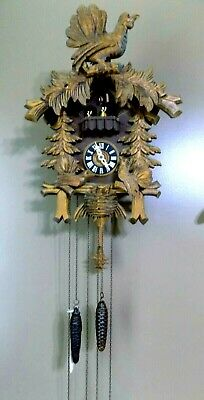 Vtg Black Forest German Cuckoo Clock Feeding Bird Dancing People by A.Schneider