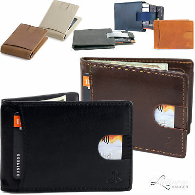 Men Slim Leather Bifold ID Credit Card Wallet with Money Clip