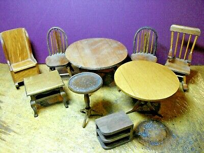 9 Pcs Vintage 1:12 Wooden Doll House Furniture Chairs and Tables Made in Japan