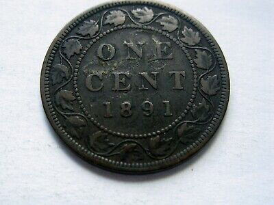 1891 Canadian One Large Cent Coin - LD/LL
