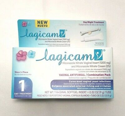 Lagicam Vaginal Antifungal Combination Day Night Pack 1 Day Treatment Exp 9/2019