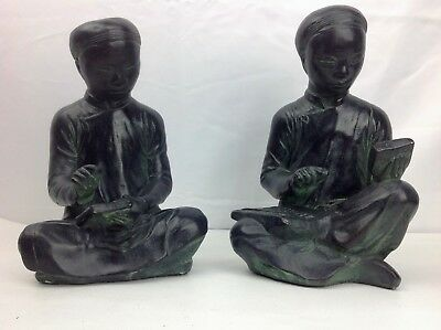 Vtg Austin Productions 1961 Asian Scholar Bookends Pair, MATHEMATICIAN & SCRIBE