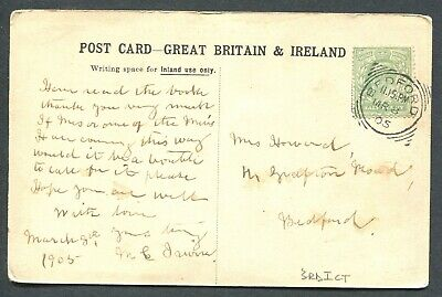 """Great Britain Squared Circle Cancel """"Bedford"""" On Postcard"""