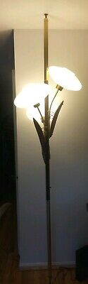 Mid Century Modern Danish Floral Bent Wood Tulip Tension Floor Lamp
