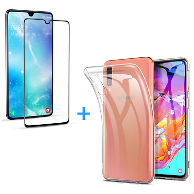Samsung Galaxy A70 Heavy Duty Foil Protective Glass Film + Cover Transparent