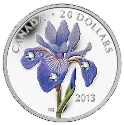 2013 'Blue Flag Iris' Colorized and Crystallized Proof $20 Silver Coin .9999