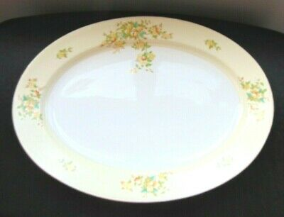 1960's Made In Japan China Yellow Rim W/Floral Design Oval Serving Platter