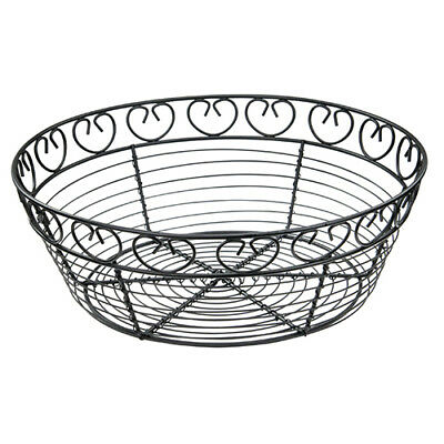 Winco WBKG-10R, 10-Inch Black Round Metal Wire Bread and Fruit Basket