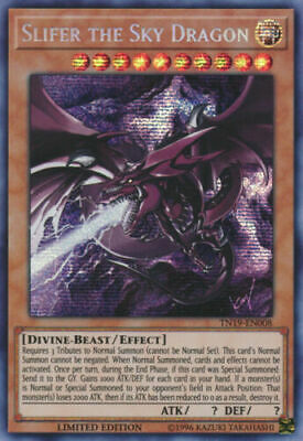 Yugioh 2019 Gold Sargophagus Slifer The Sky Dragon Prismatic Rare Holo Promo