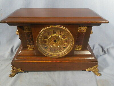 Antique 1900s Columns Lion Mantle Clock NO INSIDES PARTS ONLY