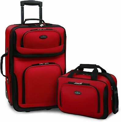 U.S Traveler Rio Carry-on Lightweight Rolling Luggage Suitcase Set RED NEW