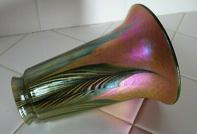 American Art Glass Lamp Shade - Pulled Feather - Lundberg Studios