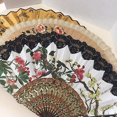 Women's Folding Fans Lot of 3 Bamboo, Lace, Cherry Blossoms, Adult Size
