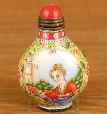 rare chinese cloisonne hand painting mother love statue snuff bottle decoration