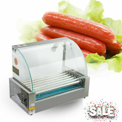 Commercial Electric 18 Hot Dog 7Roller Grill Cooker Machine Stainless With Cover