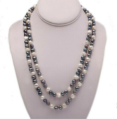 7-8/8-9mm Multicolor Natural Cultured Freshwater Pearl Long Necklace 24-50''