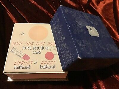 "Vintage! ""Evening In Paris"" Face Powder Box Rose Indian & Sealed ~ Bourjois"