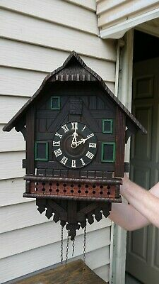 German black forest carved chalet style cuckoo clock for restoration