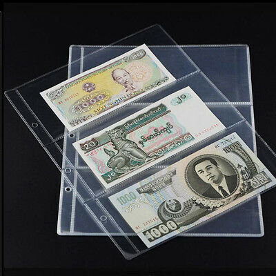 BL_ 10x Note Banknotes Currency 3-Pocket Holder Page Album Paper Money Sleeve Ey