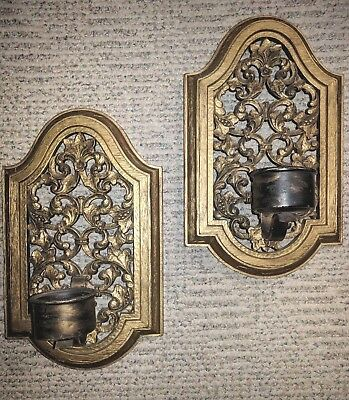 Two Vintage SYROCO 4087 Wall Sconces Candle Holders Hollywood Regency Scrolls