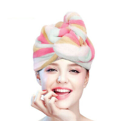 Microfiber Hair Turban Wrap Fast Dry Hair Towel Wrap Women Girls' Shower Cap AU