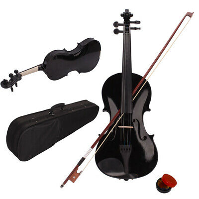 High Quality 4/4 Size Instruments Acoustic Violin Set for Students Kids Black