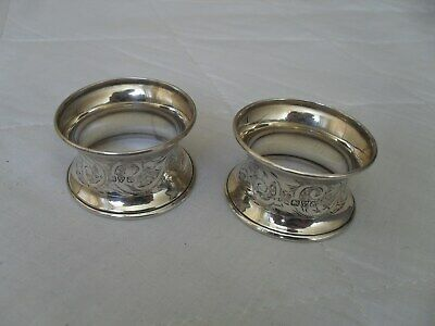 Pair of antique solid silver napkin rings hallmarked Chester 1912