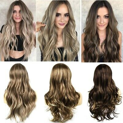 70cm Women Long Curly Wavy Wigs Lady 4 Colors Ombre Wig Cosplay Party Dress Hair
