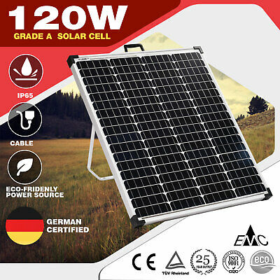 120W Folding Solar Panel Support Leg 12V Battery Charger Portable Camping Mono