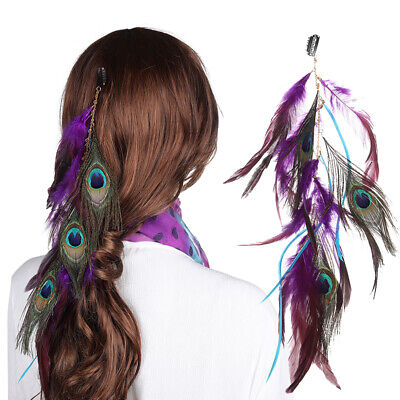 Women's Bohemia Feather Hair Comb Clips Hippie Long Tassel Head Band Accessory