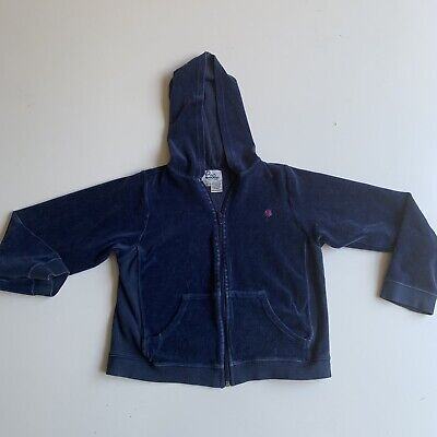 Girls Lilly Pulitzer navy blue velour zip up hoodie size 12