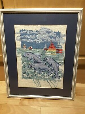 Framed Completed Needlepoint Tapestry Picture 3 Dolphins Swimming Perfect Gift