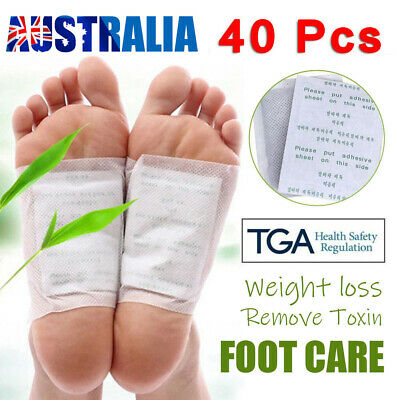 40PCS Detox Kinoki Foot Patch Pad Natural plant Herbal Toxin Removal Weight AU