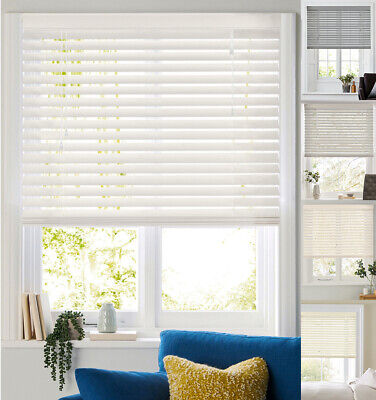 Faux Wood Venetian Blinds Made to Measure in White Cream and Grey PVC 50mm Slats