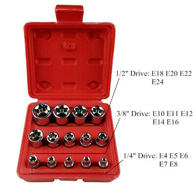14 pcs Locking Wheel Nut Remover Kit Stud Bolt Nut Impact Twist Socket Extractor