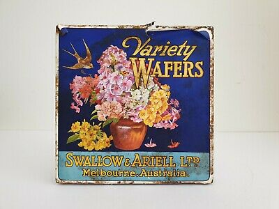 Vintage swallow & Ariell Biscuit tin, Swallow and Ariell Wafers tin,